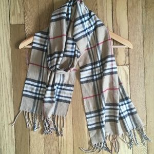 Nordstrom 100% Cashmere Tan Plaid Fringed Scarf